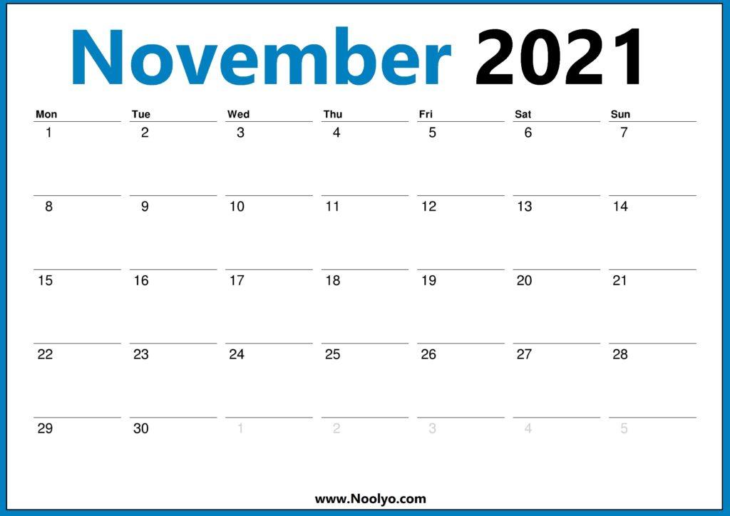 November 2021 Calendar Monday Start HD